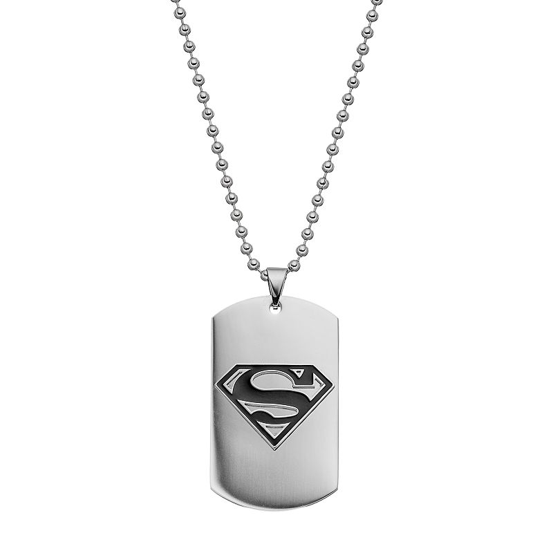 Men's Stainless Steel Superman Logo Dog Tag Necklace