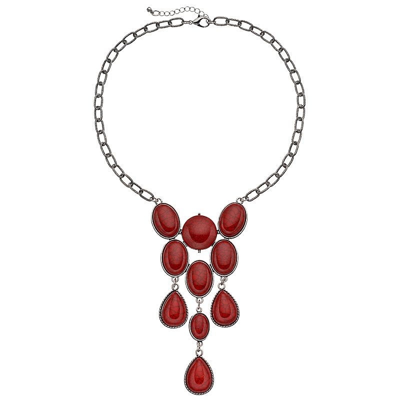 Red Cabochon Statement Necklace