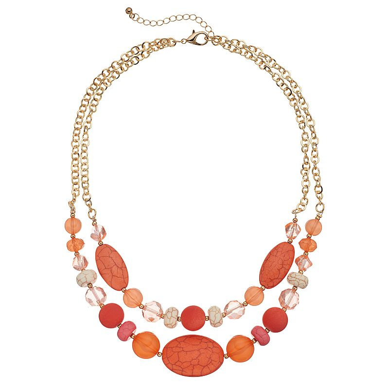 Peach Beaded Double Strand Necklace