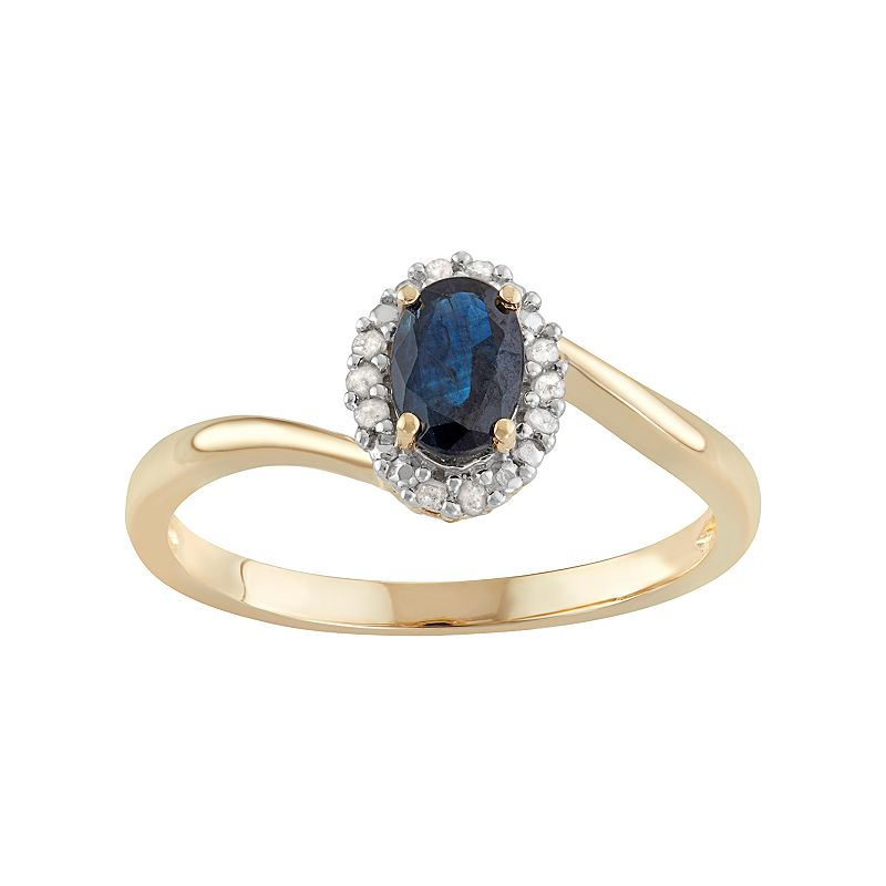 10k Gold Sapphire & Diamond Accent Halo Ring
