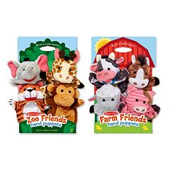 Melissa & Doug Farm & Zoo Friends Hand Puppets Set by