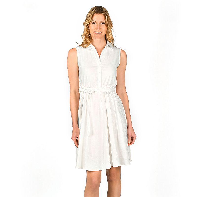 Women's Larry Levine Linen-Blend Shirtdress