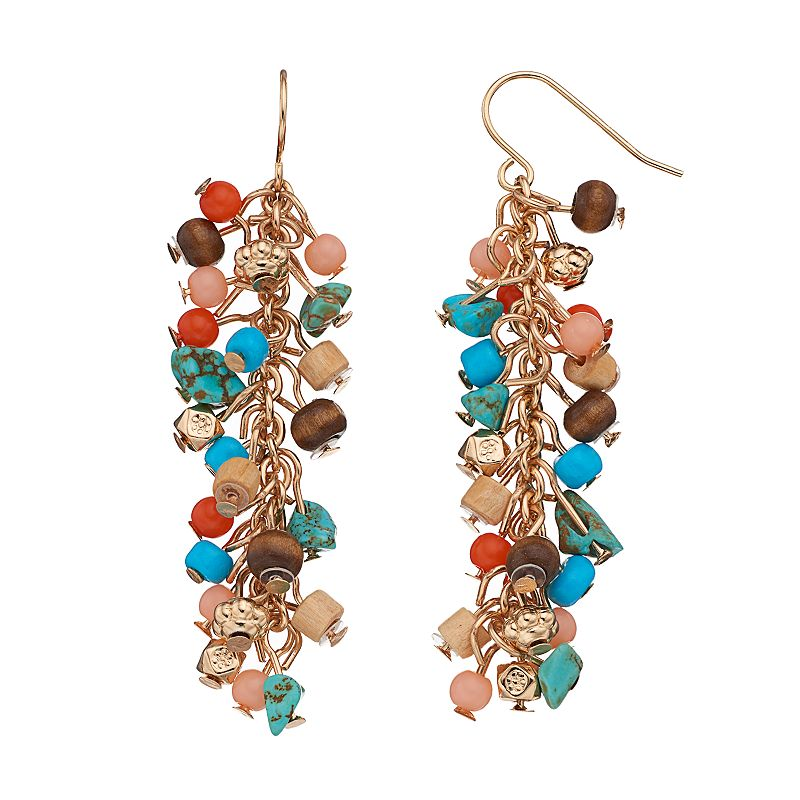 Mudd® Beaded Cluster Linear Drop Earrings