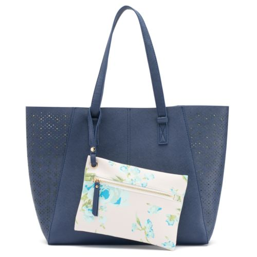 Under One Sky Floral & Perforated Reversible Tote