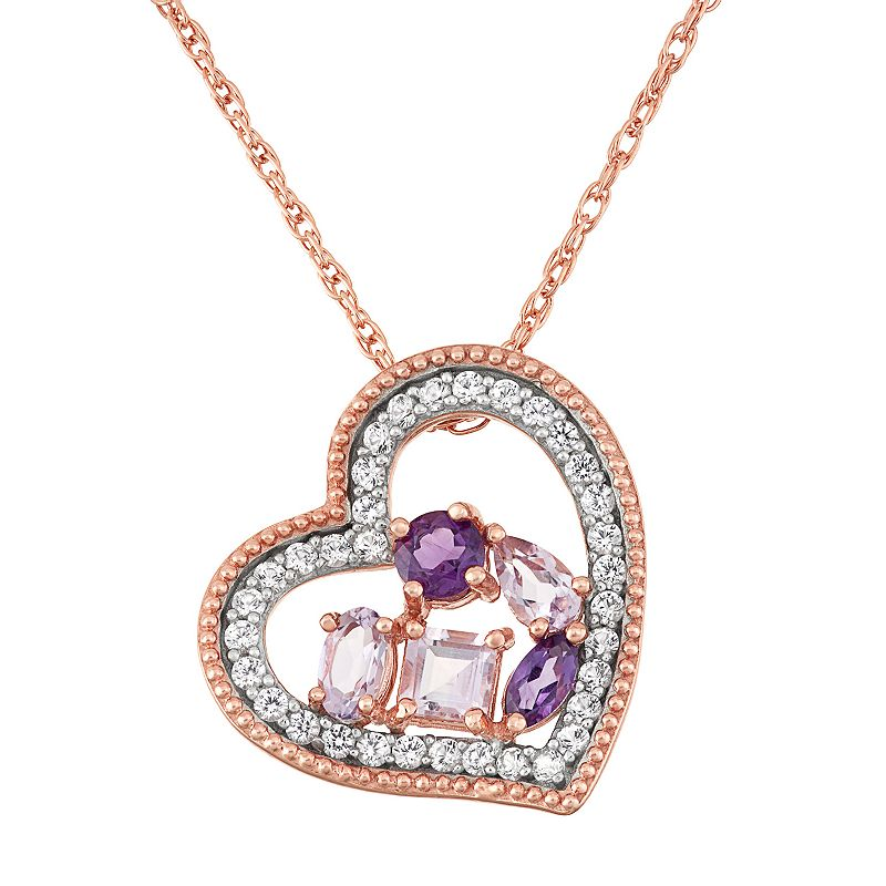 18k Rose Gold Over Silver Amethyst & Pink Quartz Heart Pendant