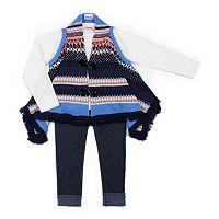 Girls 4-6x Little Lass Tunic Sweater Vest, Tee & Jeggings Set