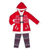 Girls 4-6x Little Lass Sweater, Penguin Tee & Leggings Set