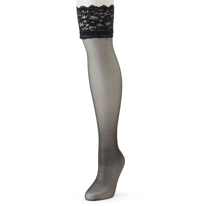 Berkshire Sheer Silky Lace-Top Thigh High Panty Hose