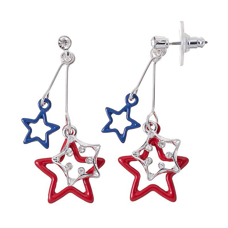 Red & Blue Star Drop Earrings