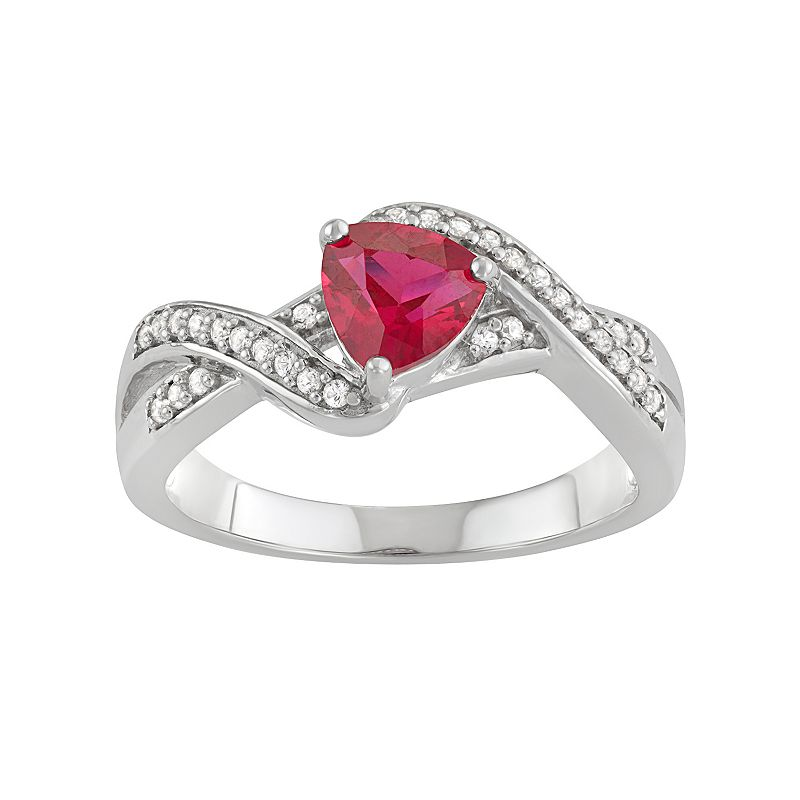 Sterling Silver Lab-Created Ruby & White Sapphire Ring