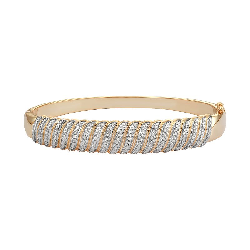 18k Gold Over Silver 1/10 Carat T.W. Diamond Hinged Bangle Bracelet