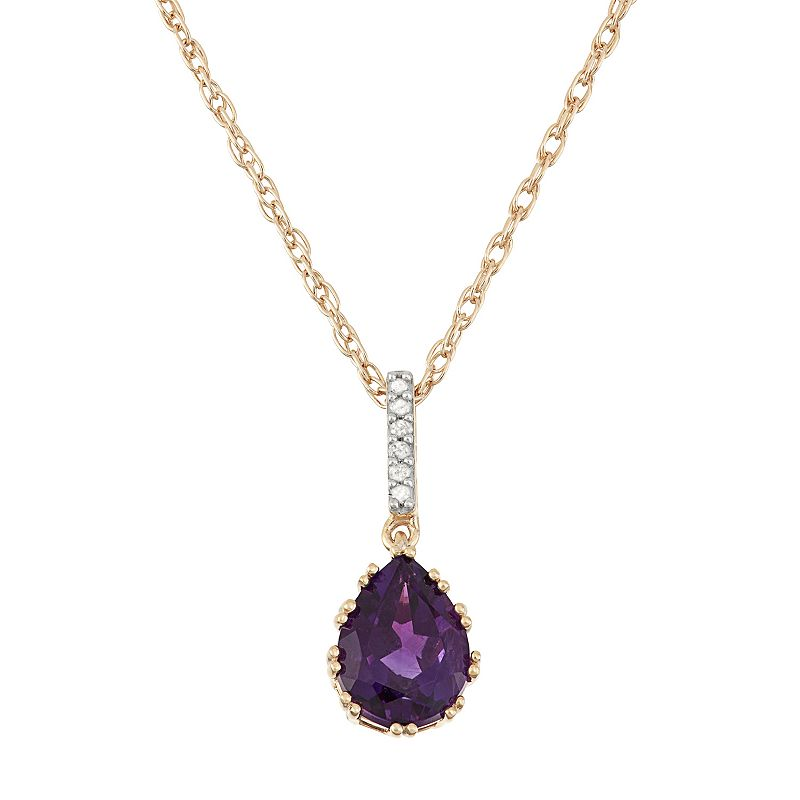 18k Gold Over Silver Amethyst & Diamond Accent Teardrop Pendant