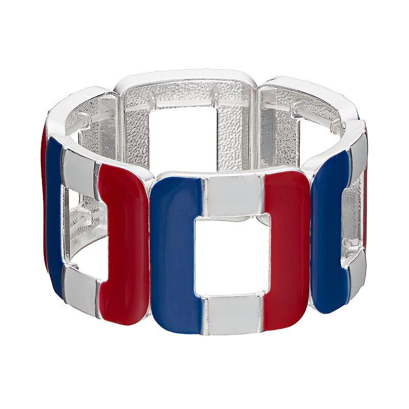 Red, White & Blue Openwork Square Stretch Bracelet