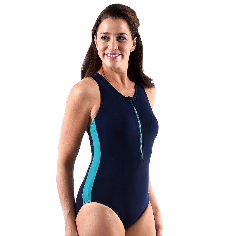 Women's Dolfin Zip-Front Racerback One-Piece Swimsuit