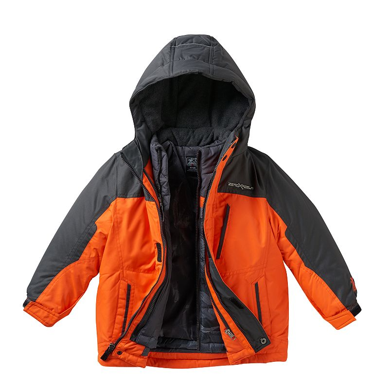 Boys 4-7 ZeroXposur 3-in-1 Heavyweight Hooded Systems Jacket, Boy's, Size: Large, Orange Oth