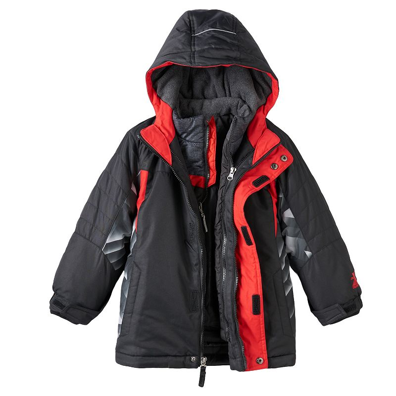 Boys 4-7 ZeroXposur 3-in-1 Hooded Heavyweight Systems Jacket, Boy's, Size: Large, Black