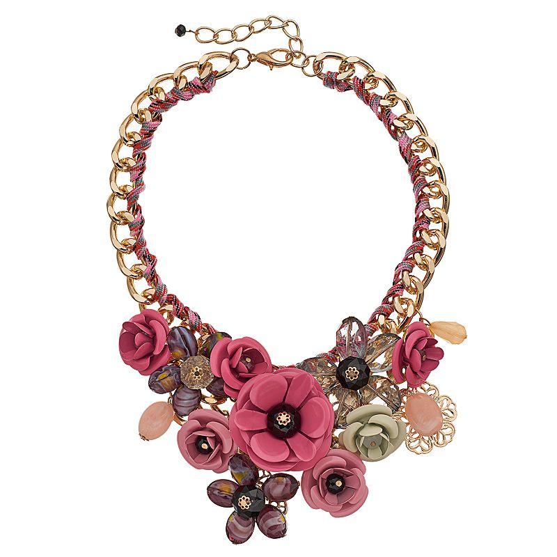 LOLI BIJOUX Flower Collage Bib Necklace