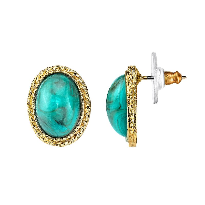 1928 Simulated Turquoise Textured Oval Drop Earrings