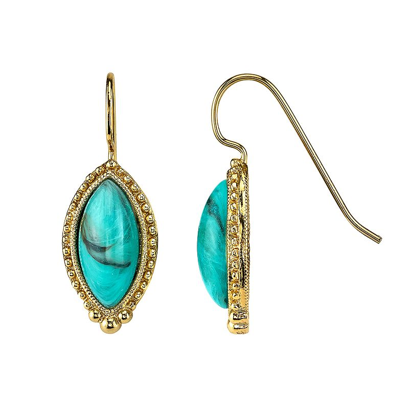 1928 Simulated Turquoise Marquise Drop Earrings