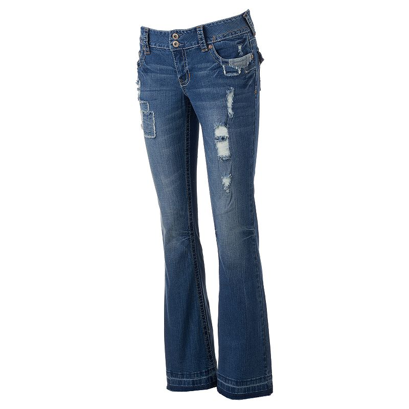 Juniors' Amethyst Ripped Denim Flare Jeans