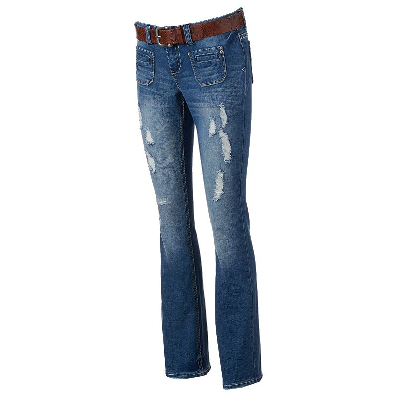 Juniors' Amethyst Patch-Pocket Denim Flare Jeans