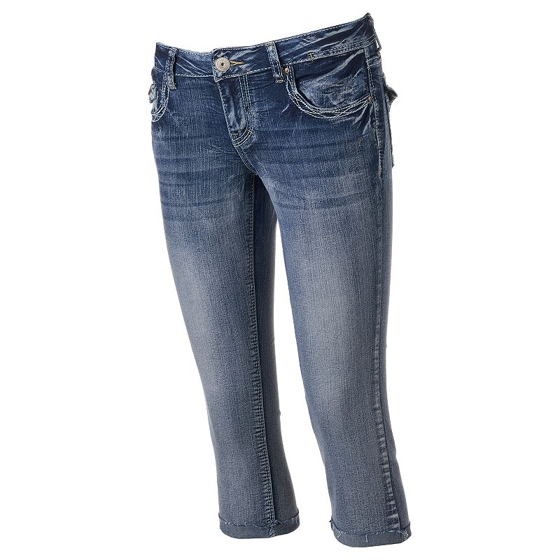 Juniors' Amethyst Faded Flap-Pocket Denim Capris