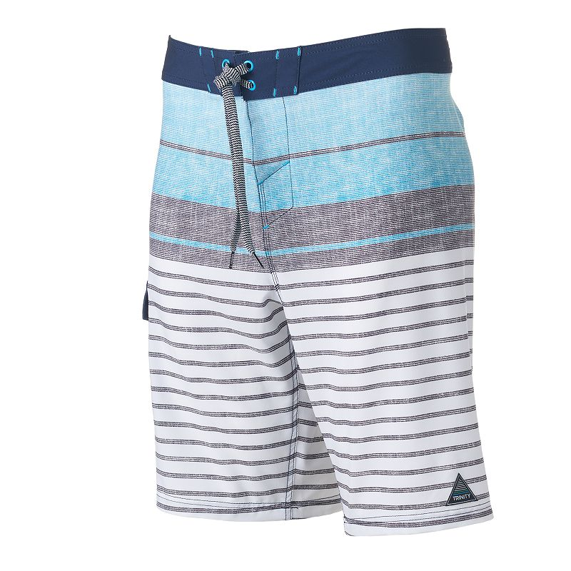 Men's Trinity Collective Modern-Fit Striped & Colorblock Cargo Board Shorts