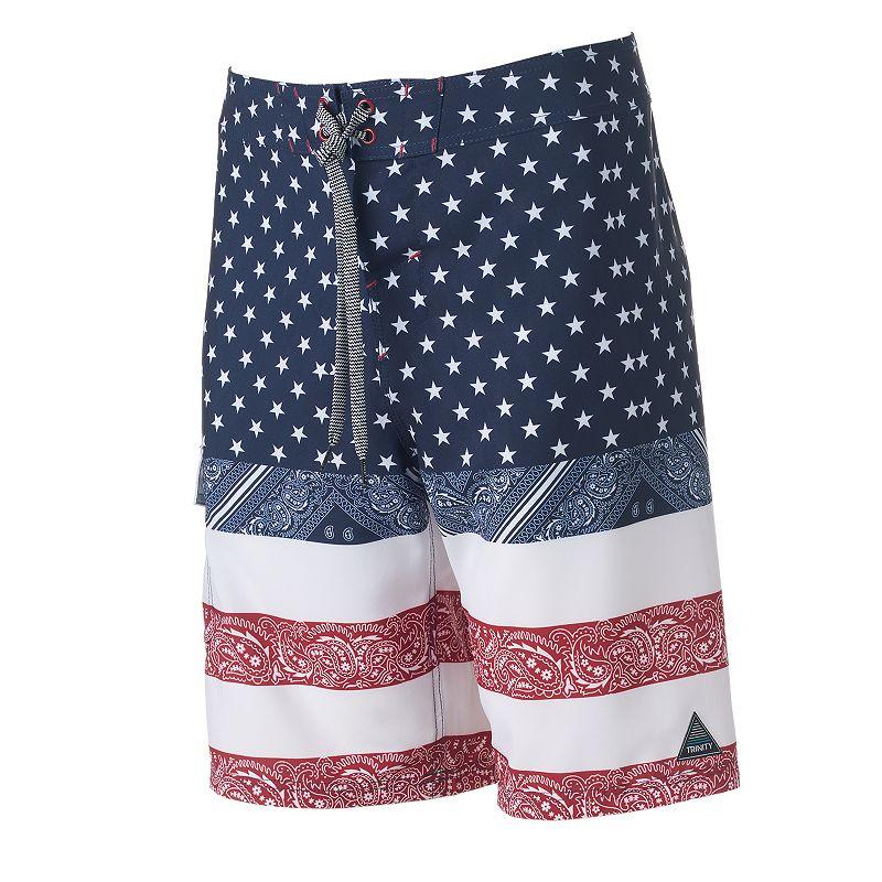 Men's Trinity Collective Modern-Fit Stars & Stripes Bandana Cargo Board Shorts