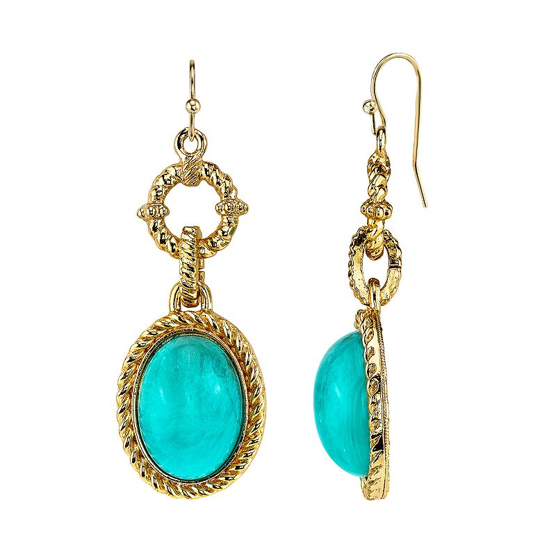 1928 Simulated Turquoise Twisted Oval Drop Earrings