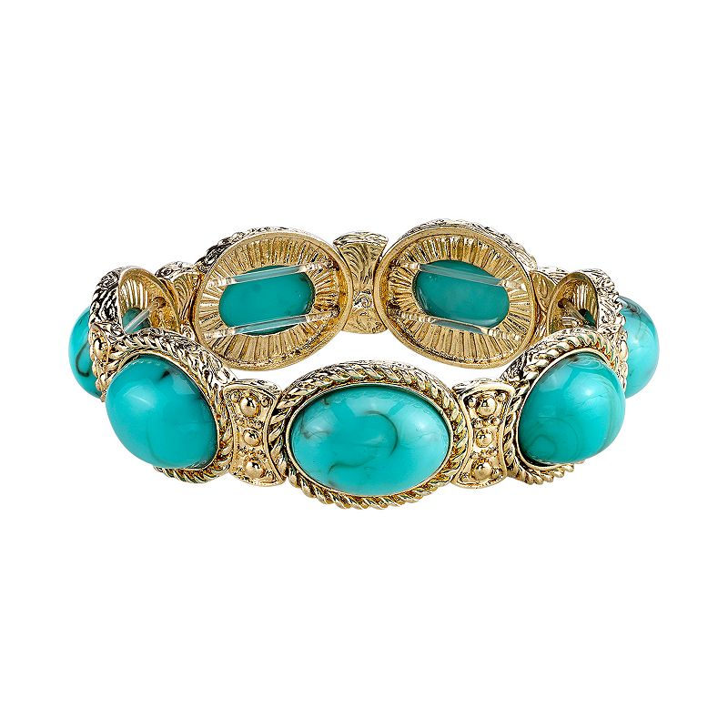 1928 Simulated Turquoise Twisted Oval Cabochon Stretch Bracelet
