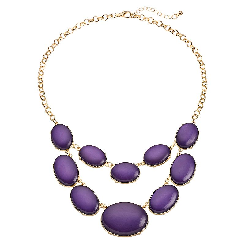 Purple Oval Cabochon Swag Necklace