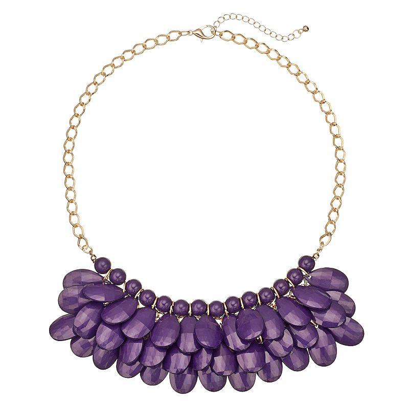Purple Beaded Teardrop Necklace