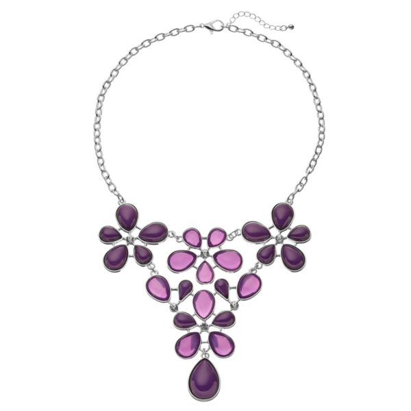 Purple Teardrop Flower Statement Necklace