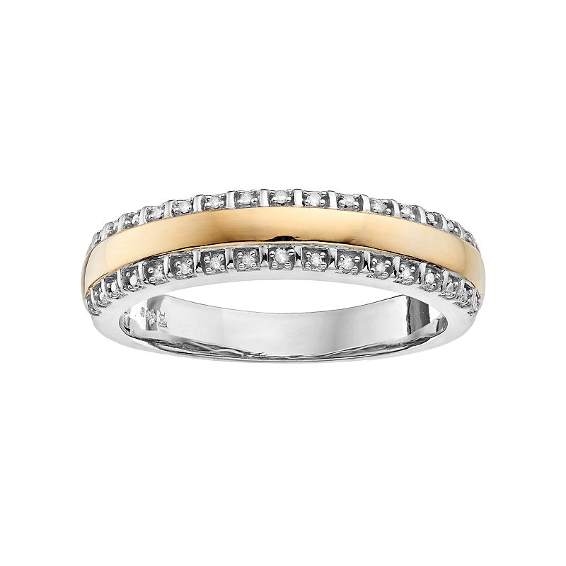 Always Yours Men's Two Tone Sterling Silver Diamond Accent Wedding Band