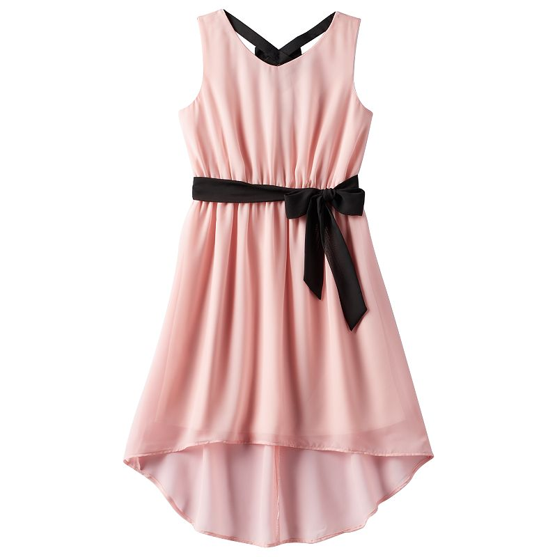 Girls 7-16 & Plus Size lilt Ribbon Belted High-Low Dress