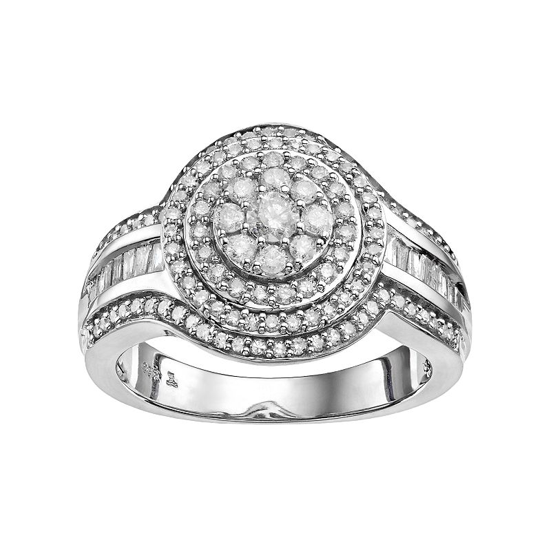 Always YoursSterling Silver 1 Carat T.W. Diamond Halo Anniversary Ring