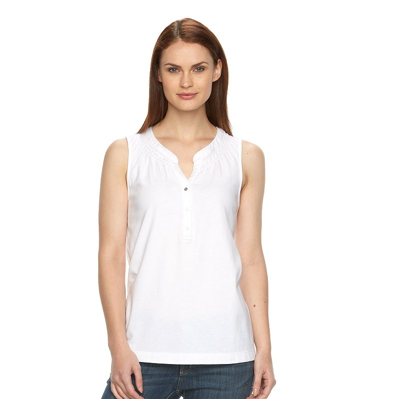 Women's Croft & Barrow® Smocked Henley Tank
