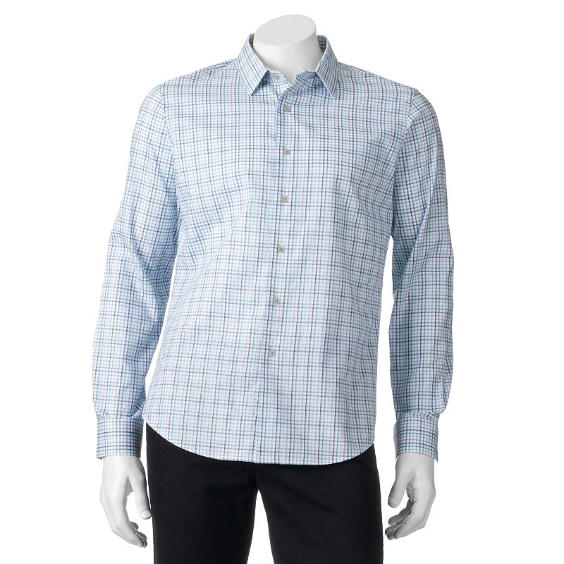 Men's Apt. 9® Slim-Fit Checked Textured Button-Down Shirt