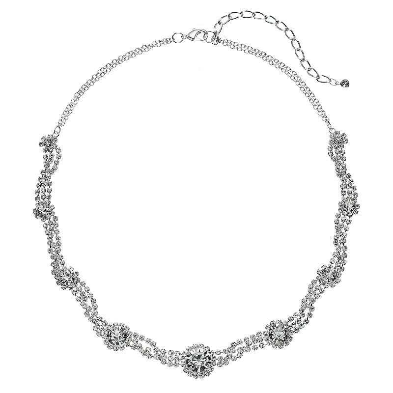 Simulated Crystal Halo Twisted Multi Strand Necklace