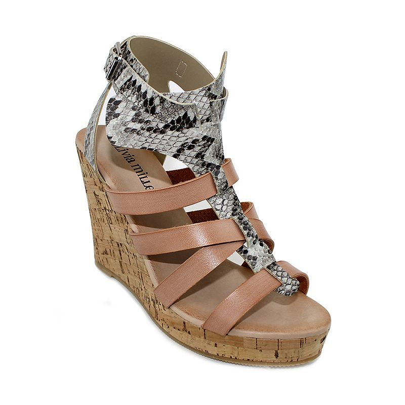Olivia Miller Minsk Women's Snakeskin Wedge Sandals
