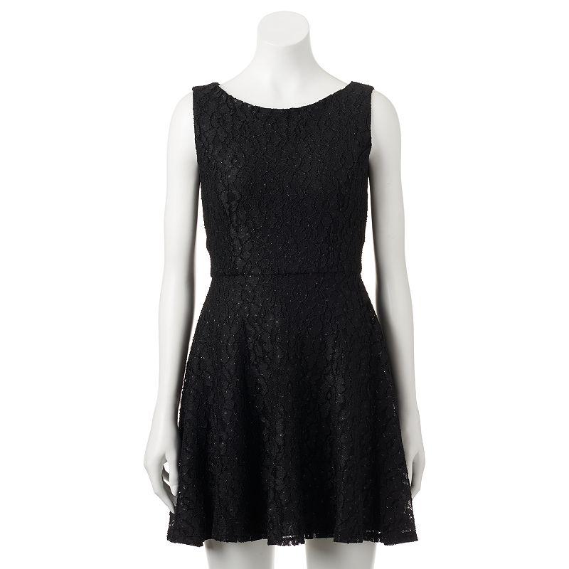 Juniors' Speechless Allover Lace & Glitter Dress