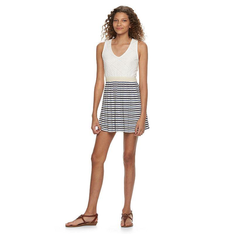 Juniors' Speechless Lace Striped Dress