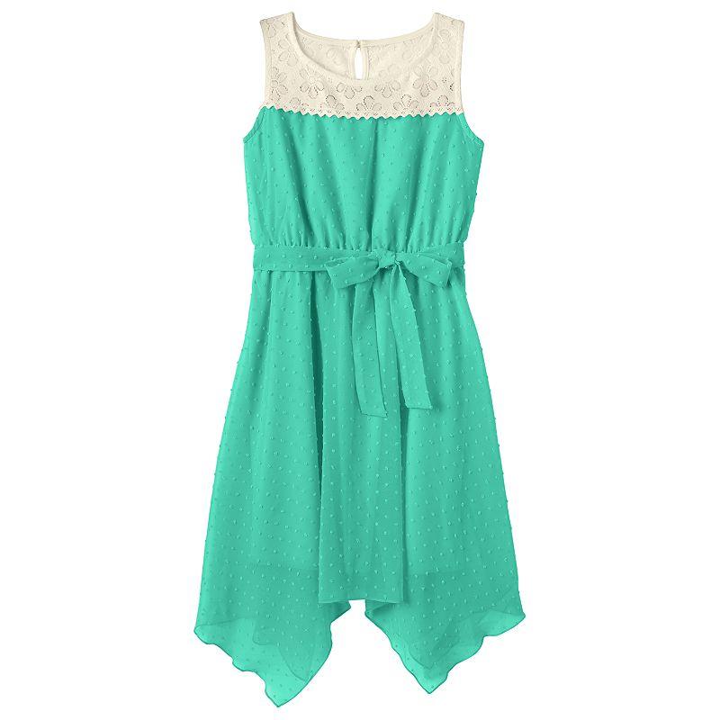 Girls 7-16 & Plus Size 2HIP Lace Clip-Dot Dress