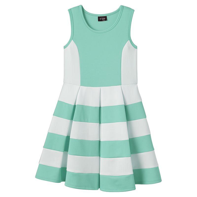 Girls 7-16 & Plus Size 2HIP Striped Scuba Skater Dress
