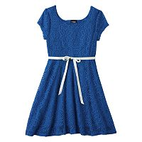 Girls 7-16 Plus Size 2HIP Cap-Sleeve Lace Skater Dress
