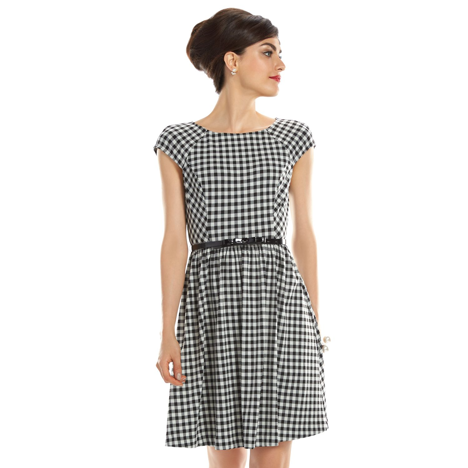 Womens ELLE? 70th Anniversary Collection 1950s Gingham Fit & Flare Dress