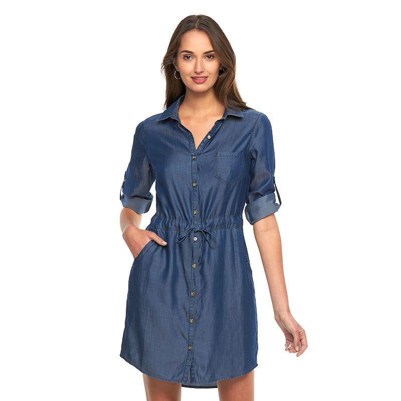 Women's Dana Buchman Roll-Tab Chambray Shirtdress