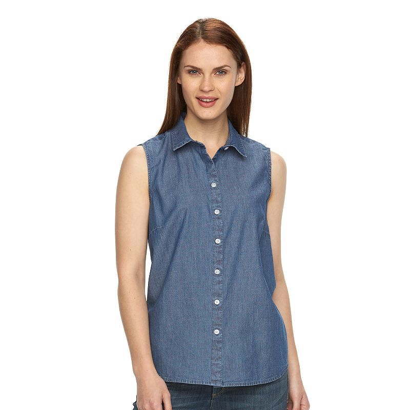 Women's Croft & Barrow® Sleeveless Button-Down Shirt