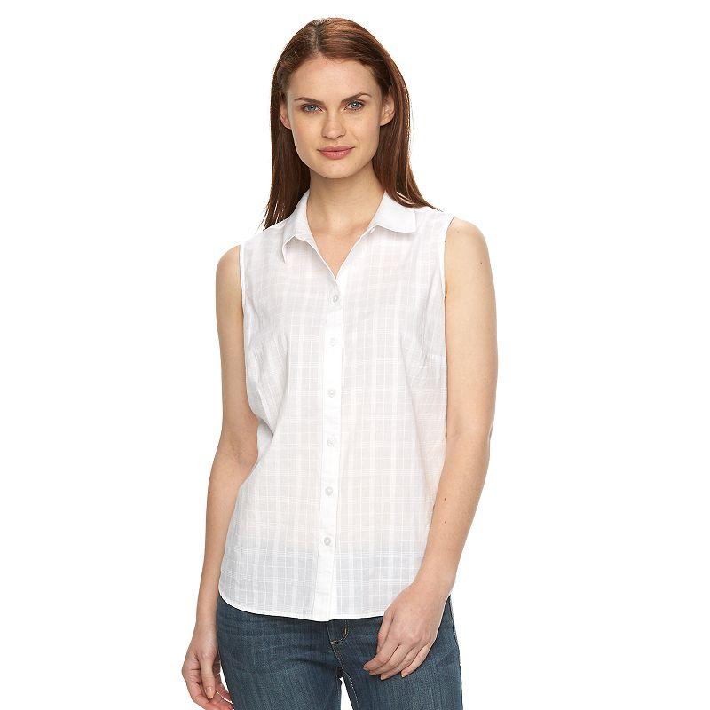 Women's Croft & Barrow® Sleeveless Button-Down Shirt