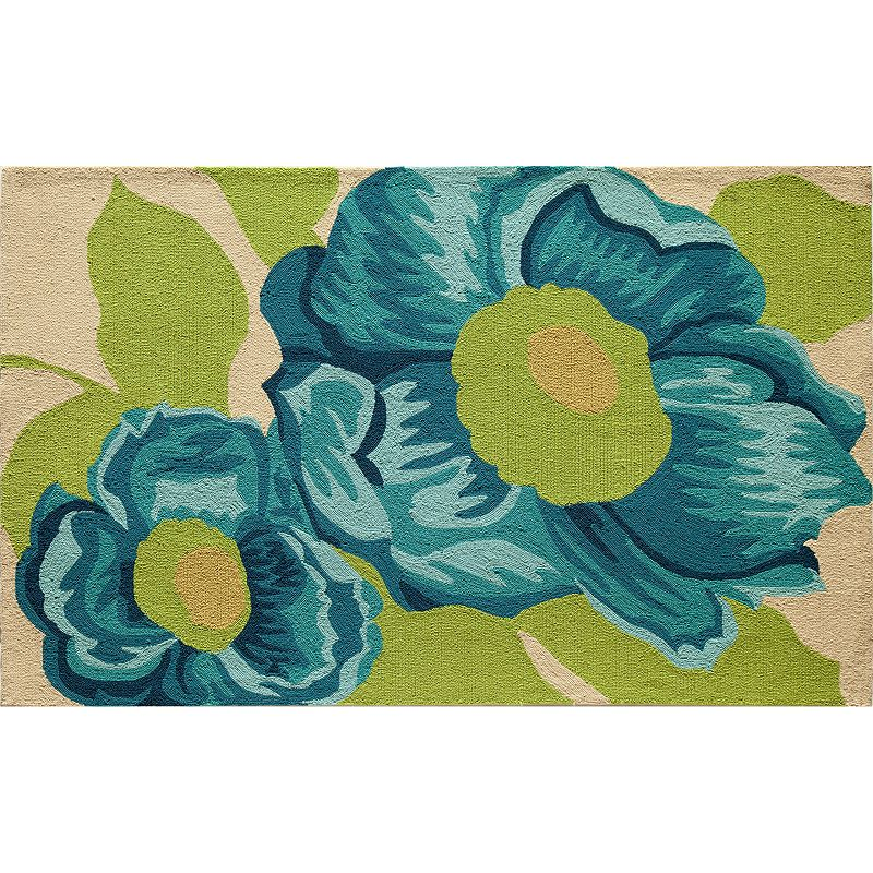 Rugs America Lenai Blue Camellia Indoor Outdoor Rug